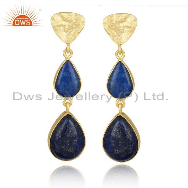 Handcrafted Textured Gold on Silver Long Dangle with Lapis