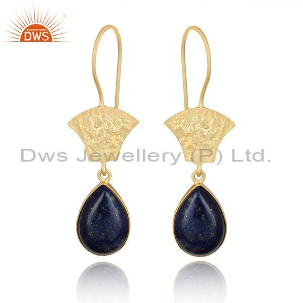 Handmade DesignTextured Gold on Silver 925 Lapis Earring