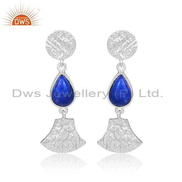 Lapis set fine sterling silver classic long drop earrings