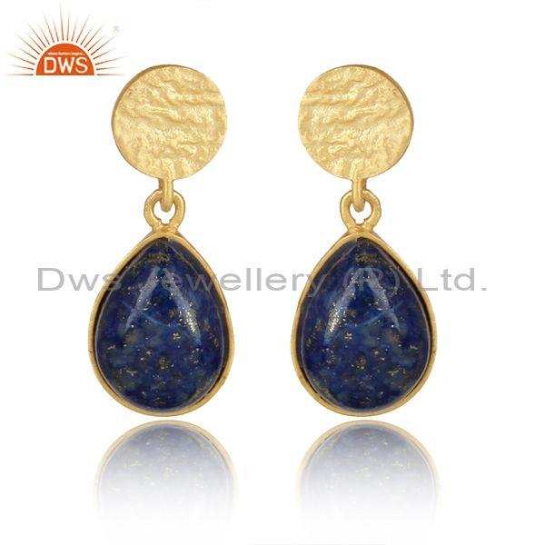 Handcrafed Textured Design Gold on Silver 925 Lapis Dangle