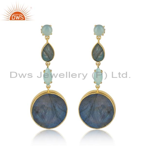 Aqua Chalcedony And Labradorite Silver Gold Earrings