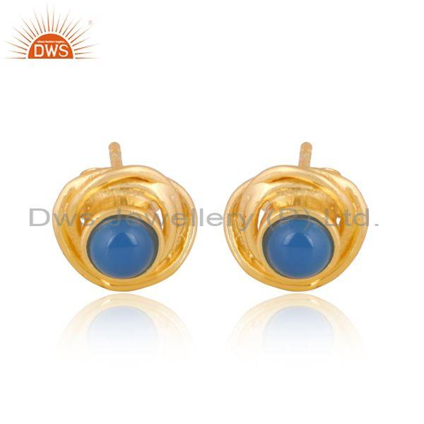 Round Blue Chalcedony Gold On 925 Silver Classic Earrings