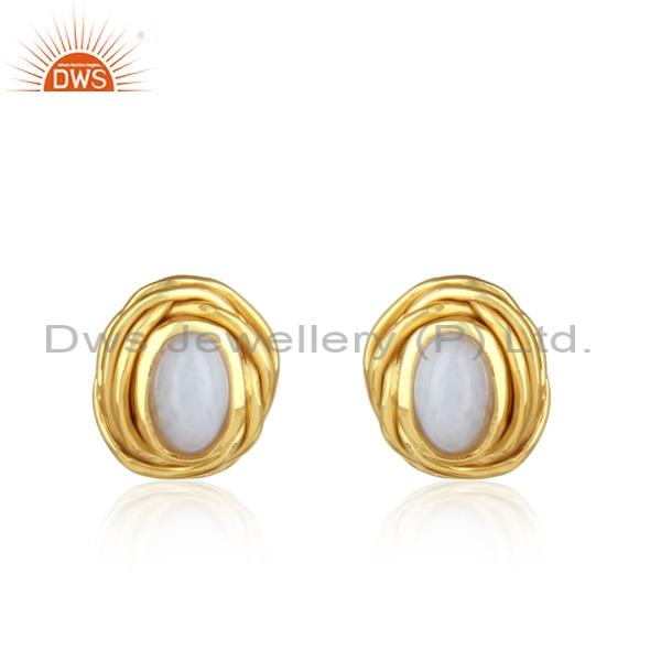 Blue lace agate sterling silver gold plated earrings