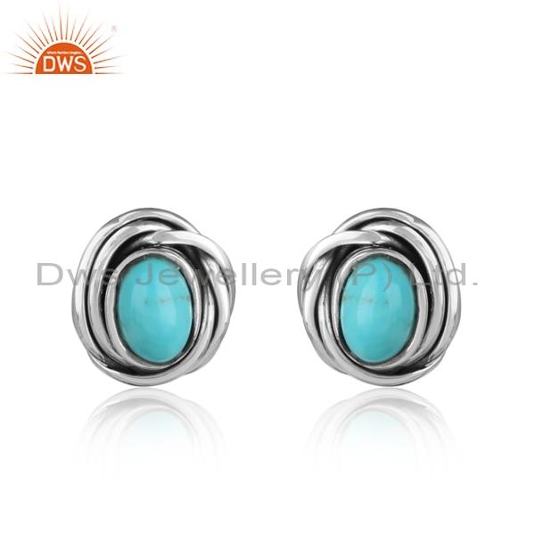 Arizona turquoise wrapped oxidized sterling silver earrings