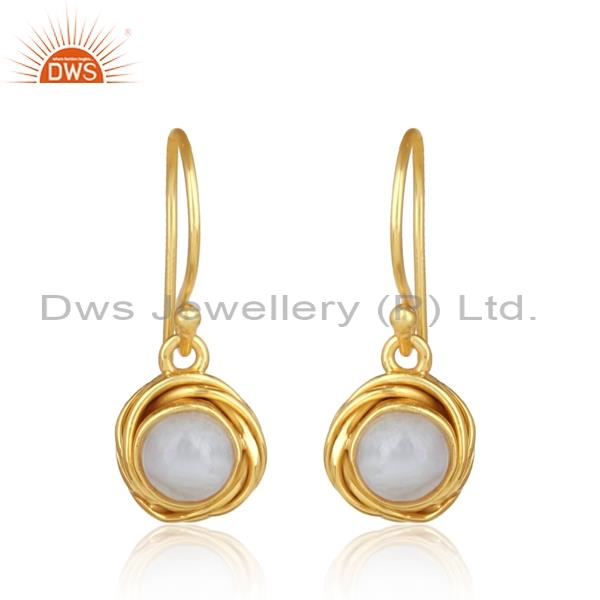 Elegant blue lace agate set gold plated 925 silver earrings