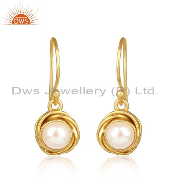 Wrapped pearl gold on 925 sterling silver statement earrings