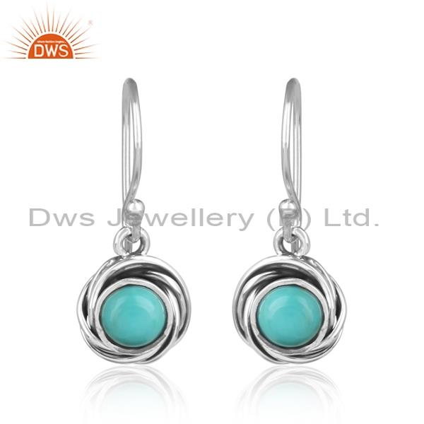 Arizona turquoise studded 925 silver drop earrings