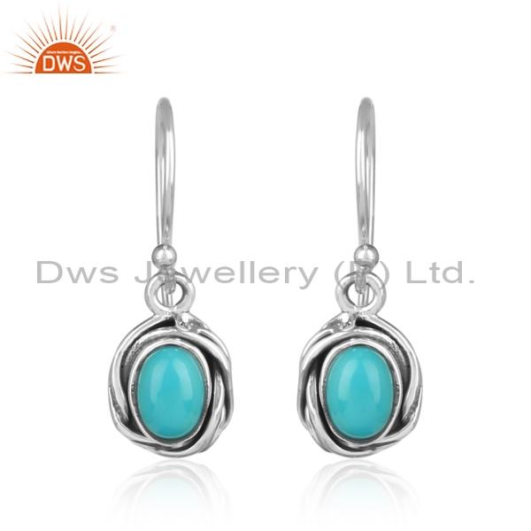 Arizona turquoise set cabushion silver drop earrings