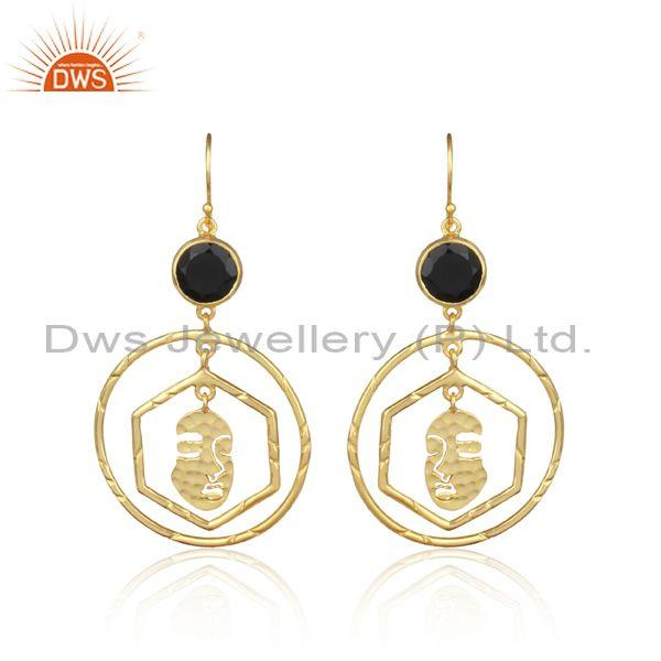 Black Onyx Sterling Silver Gold Round Hoop Earrings