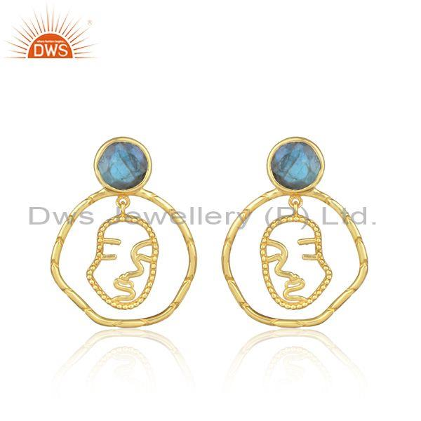 Newly Face Design Gold On Silver Turquoise Gemstone Earring