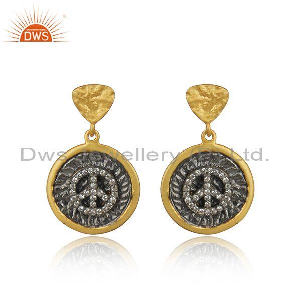 Peace Sign Rhodium and Gold on Silver Zircon Earrings
