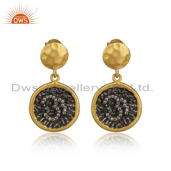 Cubic Zirconia Sterling Silver Gold Plated Earrings