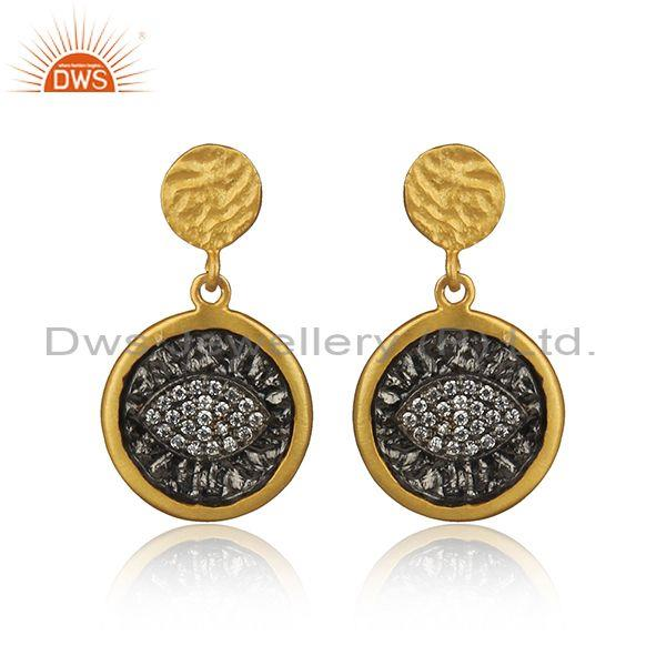 Eye Design Rhodium and Gold on Silver Zircon Earrings