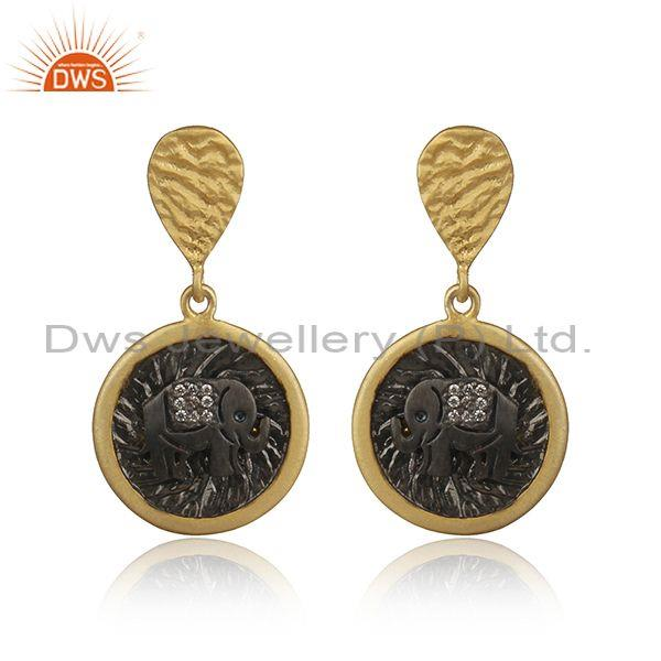 Elephant Design Rhodium and Gold on Silver Zircon Earrings