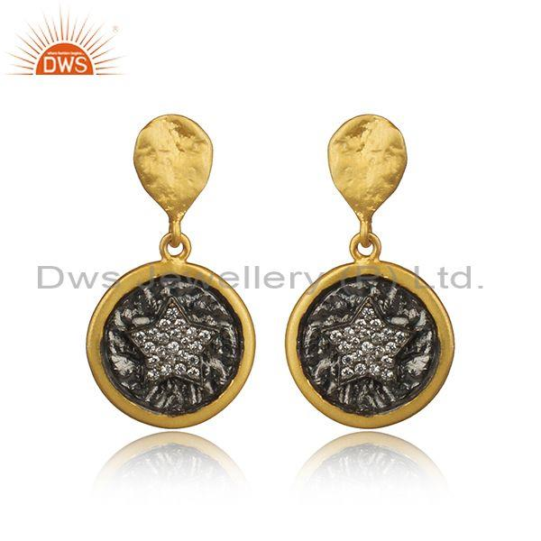 Engraved cubic zirconia silver gold plated earrings