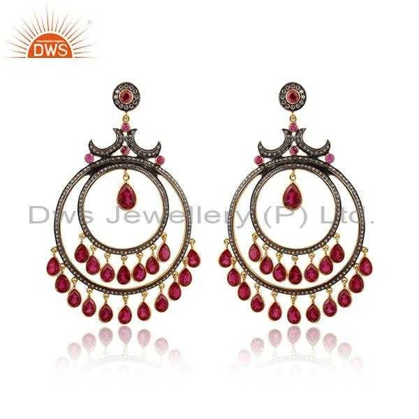 Hydro Red White Zircon Oxidized & Gold Plated Silver Earring