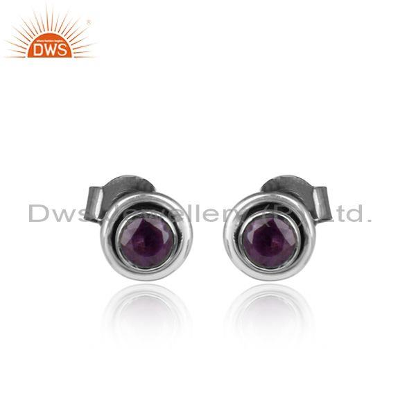 Little Round Oxidized Silver Natural Amethyst Stud Earring