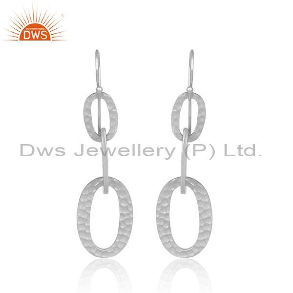 Womens 925 sterling silver oval entwined dangler earrings
