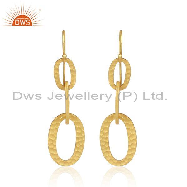Gold plated sterling silver oval entwined dangler earrings