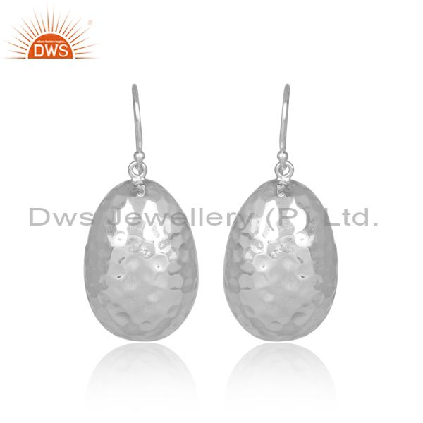 Hammered Oval White Plated 925 Silver Wire Hook Earrings