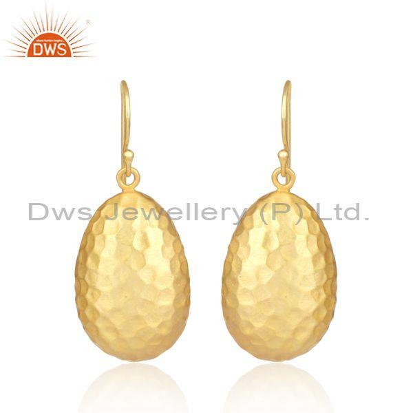 Hammered oval gold plated 925 silver wire hook earrings