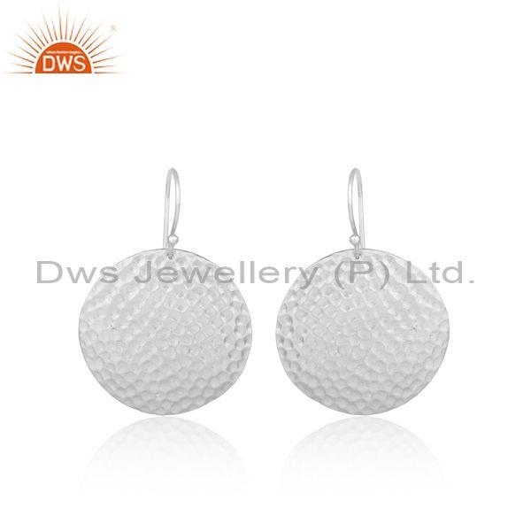 Hammered Coin Shaped White Plated Silver Wire Hook Earrings