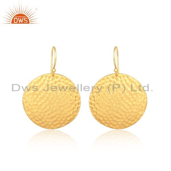Hammered Coin Shaped Gold Plated Silver Wire Hook Earrings