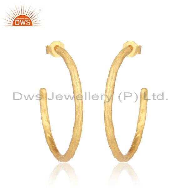 Handmade Gold Plated 925 Sterling Silver Round Hoop Earrings