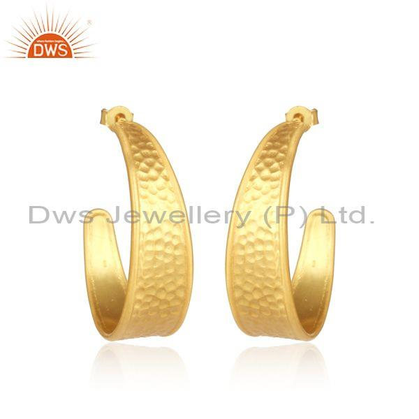 925 Sterling Silver Gold Plated Huggies Statement Earrings