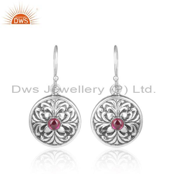 Imitation Red Stone Set 925 Oxidized Silver Ethnic Earrings