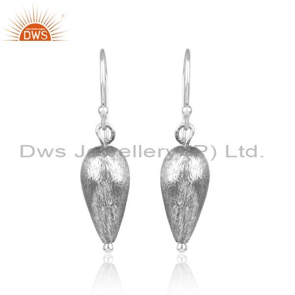 Oxidized 925 silver inverted tear drop statement earrings