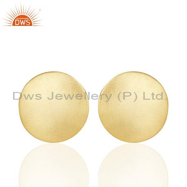 Hammered Round Coin Gold On Silver Casual Stud Earring