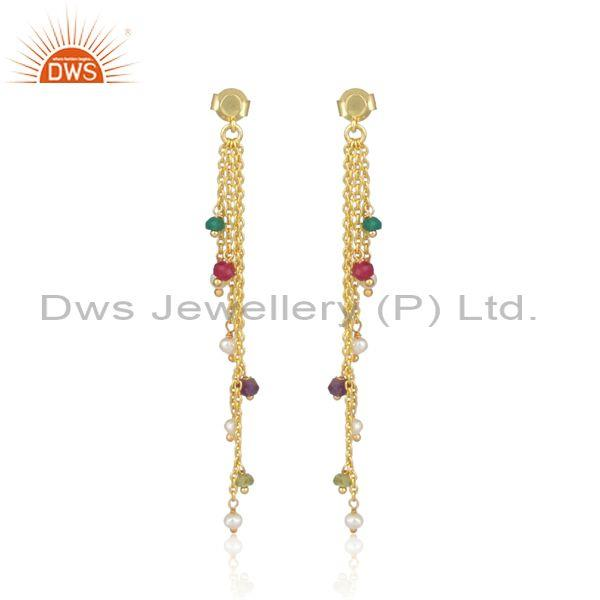 Pearl Set Gold On Silver Multi-Threads Colored End Earrings