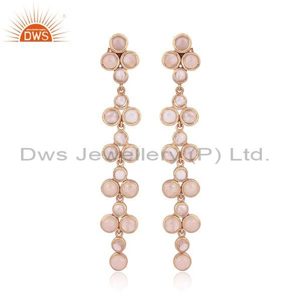 Rose Quartz Set Rose Gold 925 Silver Ethnic Long Earrings