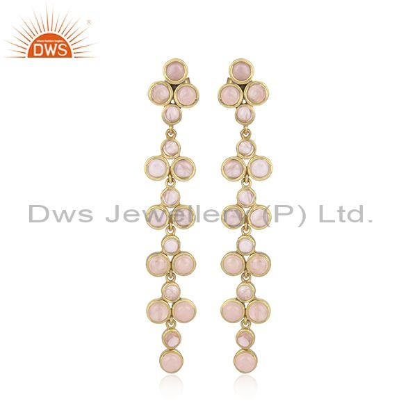 Rose Quartz Set Gold On 925 Silver Ethnic Long Drop Earrings