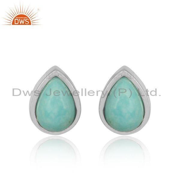 Pear Shaped Arizona Turquoise Set Fine Sterling Silver Tops