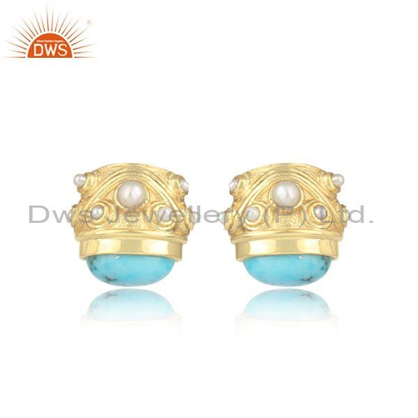 Pearl And Turquoise Matrix Set Gold On Silver Casual Tops