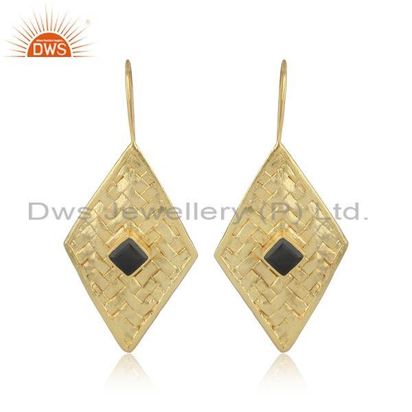 Gold On Silver Woven Ear Wire Earrings Set With Black Onyx