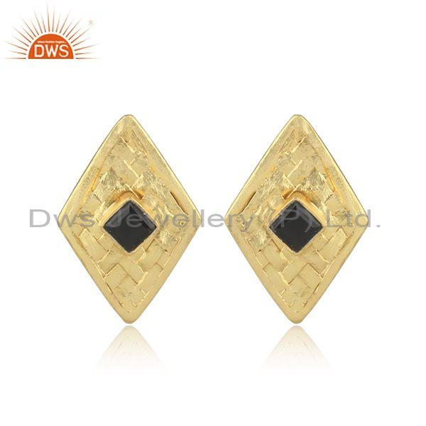 Black Onyx Set Gold On 925 Silver Custom Woven Rhombus Tops