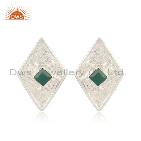 Green Onyx Set Fine 925 Silver Custom Woven Rhombus Tops