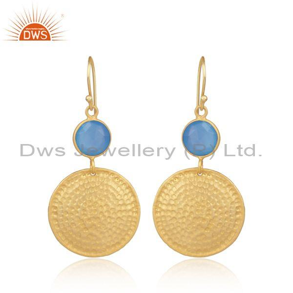 Blue Chalcedony Set Gold On Silver Round Ear Wire Earrings