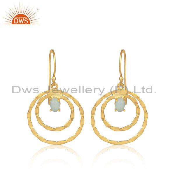 Aqua Chalcedony Set Gold On 925 Silver Double Hoop Earrings