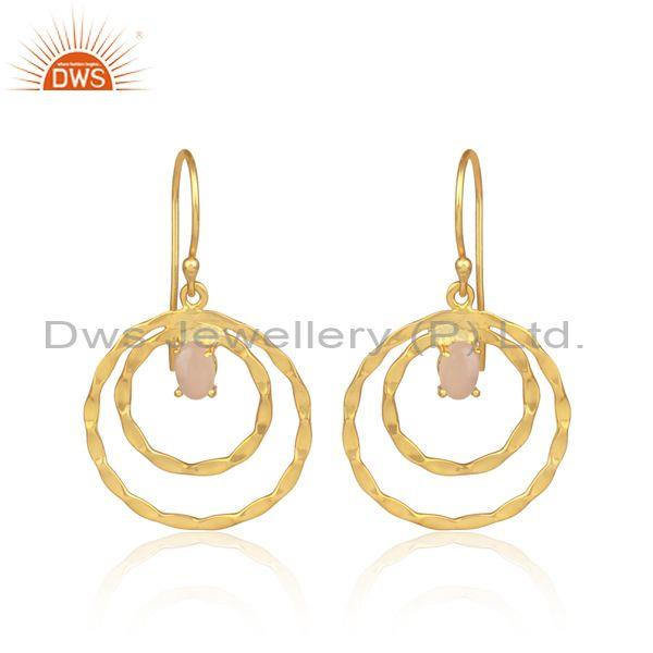 Rose Chalcedony Set Gold On 925 Silver Double Hoop Earrings