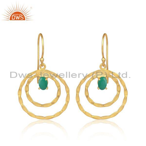 Green Onyx Set Gold On Sterling Silver Double Hoop Earrings