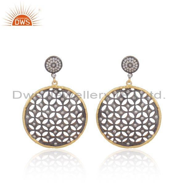 Cz set gold and black on 925 silver laser cut round earrings