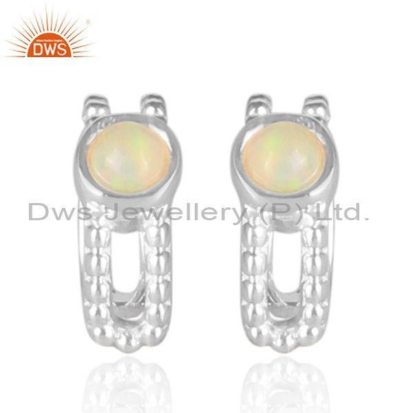 Ethiopian Opal Handmade 925Sterling Silver Ear Cuff Earrings