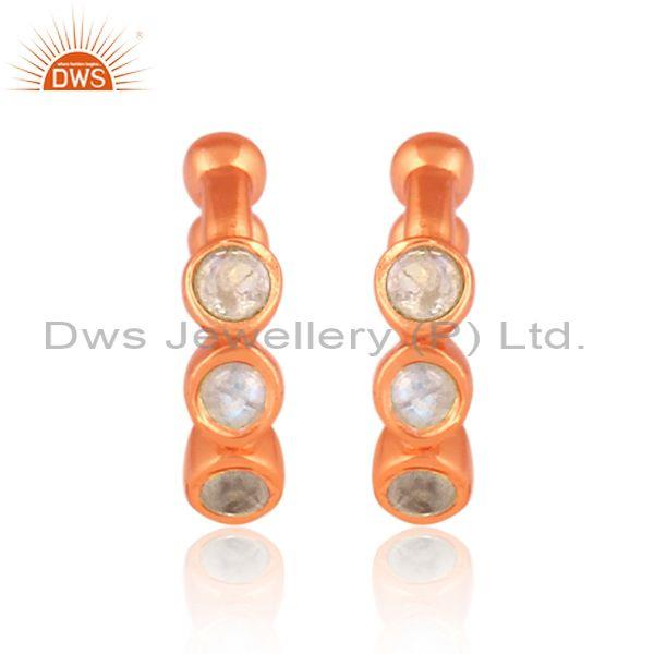 Round rainbow moon stone set rose gold on silver earrings