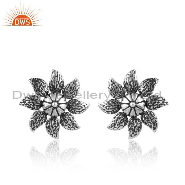 Handmade and hand hammered floral oxidized silver earrings