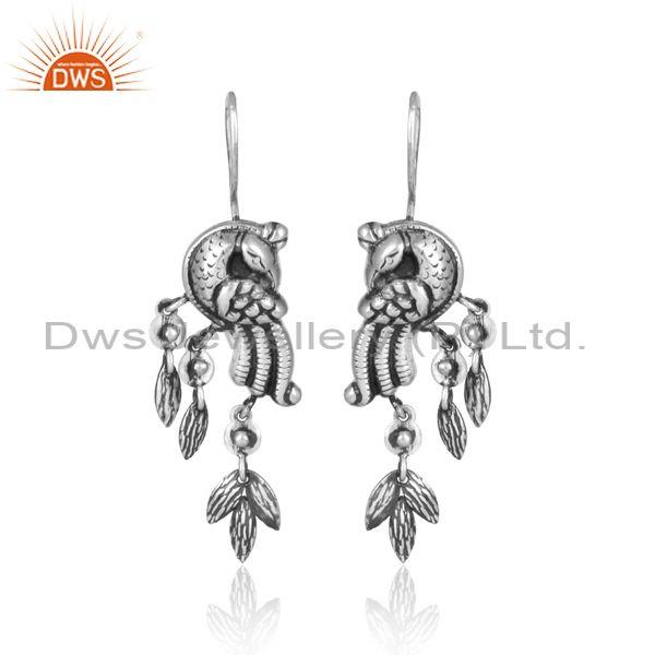 Peacock Design Oxidized Silver Long Drop Ethnic Earrings