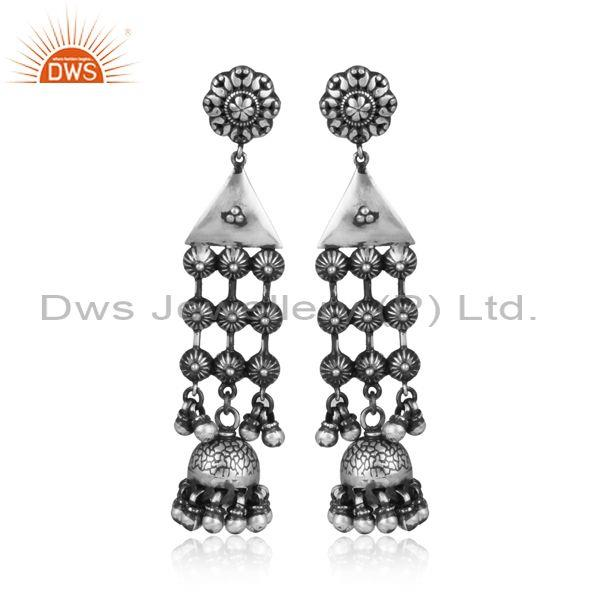 Handmade oxidized silver ethnic chandelier jhumkas earrings